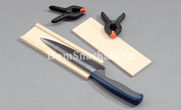 проверяем правильность расчета секции подставки при помощи ножа